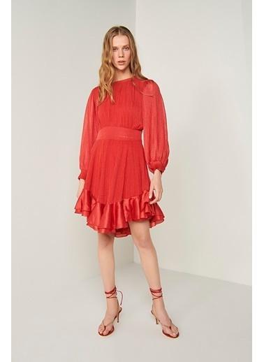 Join Us Balon Kol Volanlı Astarlı Triko Elbise Kırmızı